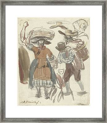 Study Journal Of Fishing Couple With Baskets On The Head And On The Back Framed Print