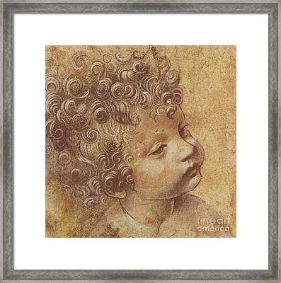 Study Of A Child's Head Framed Print by Leonardo Da Vinci