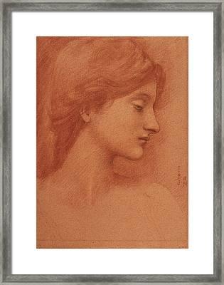 Study Of A Female Head Framed Print by Edward Burne-Jones