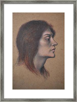 Study Of A Female Head For The Love Potion Framed Print by Evelyn De Morgan