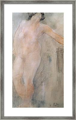 Study Of A Female Nude Framed Print by Auguste Rodin