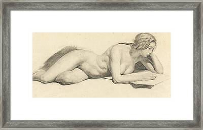 Study Of A Female Nude Reading Framed Print by Daniel Maclise