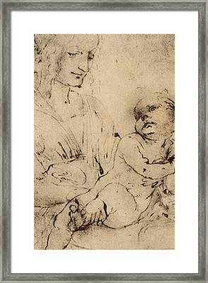 Study Of A Madonna And Child Framed Print by Leonardo Da Vinci