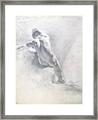 Study Of A Male Nude Framed Print by  Giambattista Piazzetta