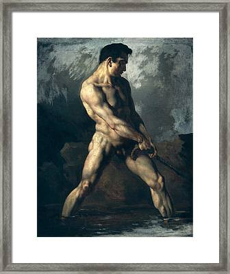 Study Of A Male Nude Framed Print by Theodore Gericault