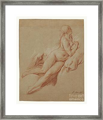 Study Of A Reclining Nude By Francois Boucher Framed Print