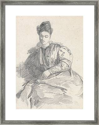 Study Of A Seated Woman Framed Print by Richard Parkes Bonington