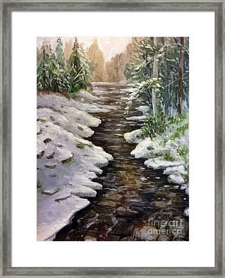 Study Of A Snowy Creek Framed Print