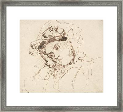 Study Of A Woman With Her Head On Her Hand Framed Print by Richard Parkes Bonington