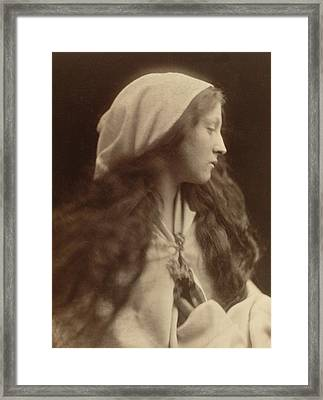 Study Of A Young Girl Dressed As A Peasant Framed Print by Julia Margaret Cameron
