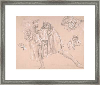 Study Of A Young Man Bending Forward To Kiss A Hand, For The Painting The Departure Of The Prodigal  Framed Print by James Tissot