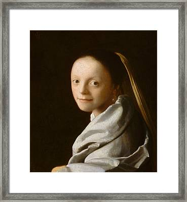 Study Of A Young Woman Framed Print by Jan Vermeer