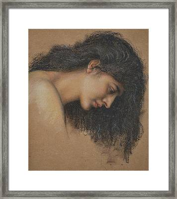 Study Of Female Head For The Cadence Of Autumn Framed Print by Evelyn De Morgan