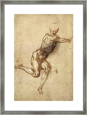 Study Of Figure To  Framed Print by Michelangelo Buonarroti