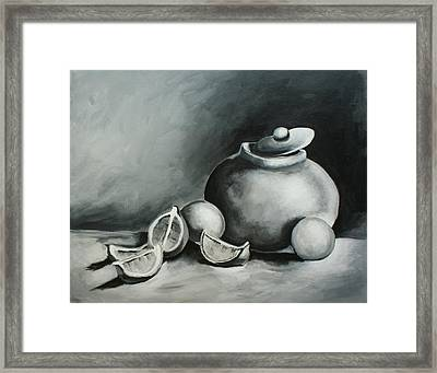 Study Of Lemons, Oranges And Covered Jug In Black And White Framed Print