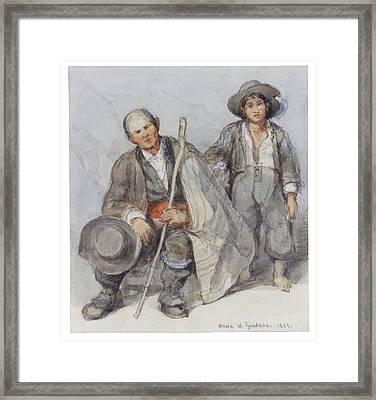 Study Of Peasants At Alcala De Guadaira Framed Print by David Roberts