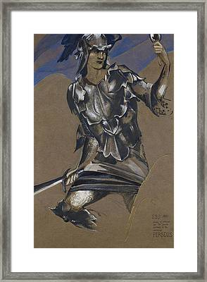 Study Of Perseus In Armour For The Finding Of Medusa Framed Print by Edward Burne-Jones