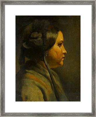 Study Of The Head Of A Young Woman In Profile Framed Print by Matthijs Maris