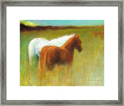 Study Of Two Ponies Framed Print by Frances Marino