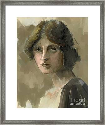 Study - Woman Framed Print by Carrie Joy Byrnes