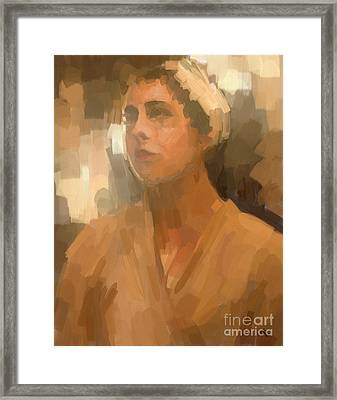 Study - Woman With Scarf Framed Print by Carrie Joy Byrnes