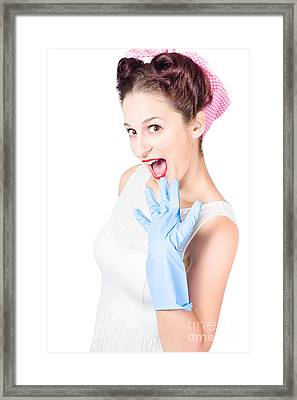 Stunned Cleaning House Wife Wearing Rubber Glove Framed Print by Jorgo Photography - Wall Art Gallery