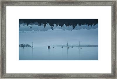 Stunning Impossible Puzzling Conceptual Landscape Image Of Lake  Framed Print