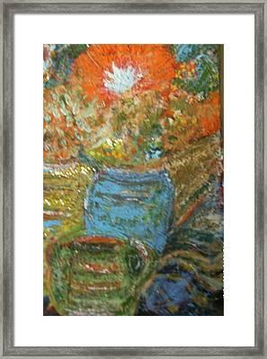 Stunning Still Life With Orange And Blue Framed Print by Anne-Elizabeth Whiteway