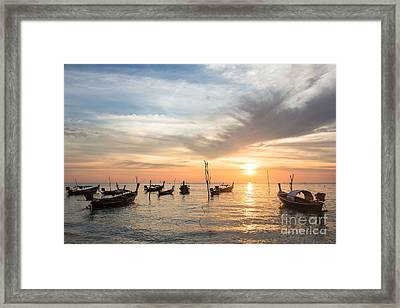 Stunning Sunset Over Wooden Boats In Koh Lanta In Thailand Framed Print