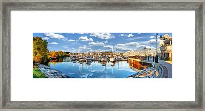 Sturgeon Bay Marina Panorama Framed Print by Christopher Arndt