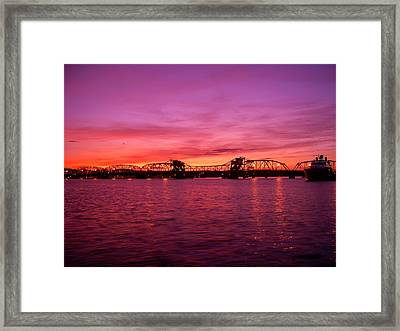 Sturgeon Bay Sunset Framed Print by Jeremy Evensen