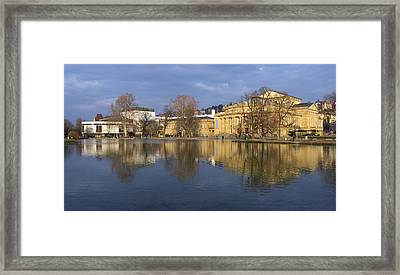 Stuttgart State Theater Beautiful Reflection In Blue Water Framed Print by Matthias Hauser