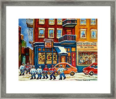 St.viateur Bagel Hockey Montreal Framed Print by Carole Spandau
