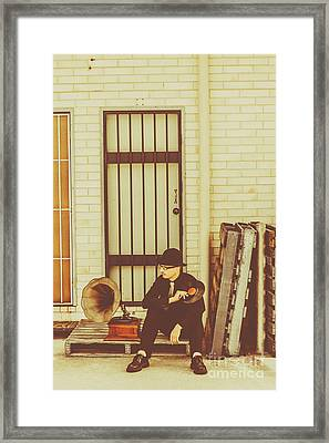 Stylish Man With Lp Beside Gramophone Framed Print