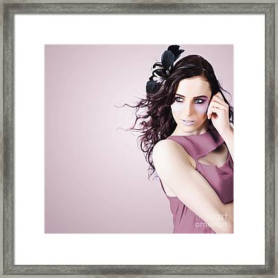 Stylish Portrait Of Fashion Girl In Purple Makeup Framed Print by Jorgo Photography - Wall Art Gallery