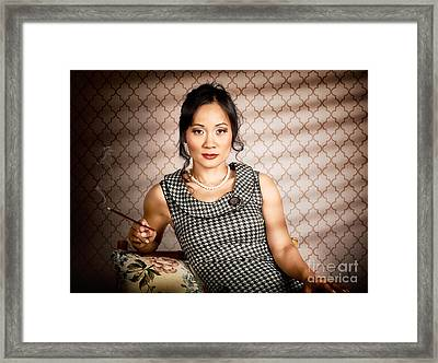 Stylish Vintage Asian Pin-up Lady With Cigarette Framed Print by Jorgo Photography - Wall Art Gallery