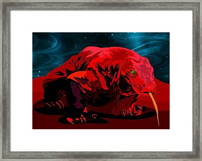 Stylized Cosmic Red Monitor Lizard Framed Print by Elaine Plesser