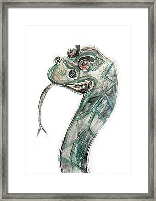 Stylized Original Illustration Of Kaa Framed Print by Marian Voicu
