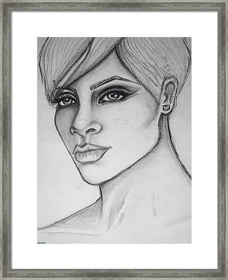 stylized portrait of Rihanna Framed Print by Dana Biviano