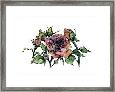 Stylized Roses Framed Print