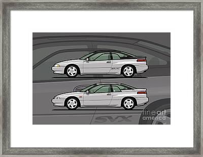 Subaru Alcyone Svx Duo Liquid Silver Framed Print by Monkey Crisis On Mars