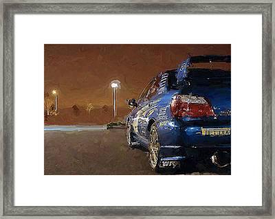 Subaru Impreza At Night Framed Print