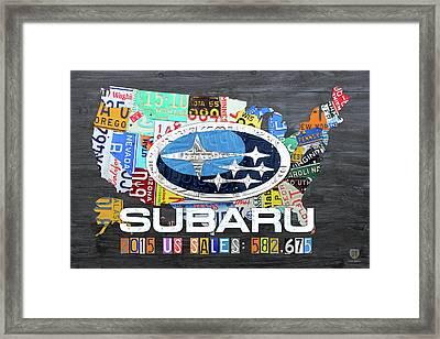 Subaru Usa Sales 2015 License Plate Map Art Framed Print by Design Turnpike