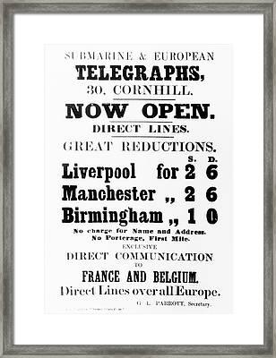 Submarine And European Telegraphs Advertisement Framed Print