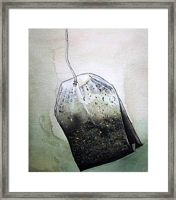 Framed Print featuring the painting Submerged Tea Bag by Mary Ellen Frazee