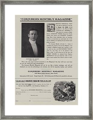 Subscription Form For Conjurers Monthly Magazine, Editor In Chief Harry Houdini, Circa 1906 Framed Print