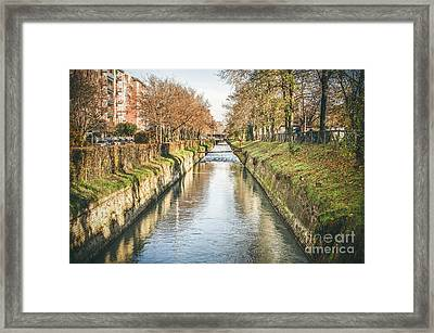 suburb river canal canvas Bologna Reno river print italy Framed Print by Luca Lorenzelli