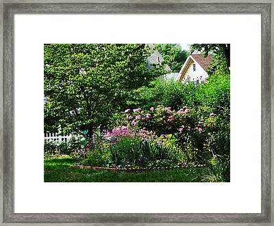 Suburban Garden With Roses Framed Print by Susan Savad