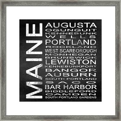 Subway Maine State Square Framed Print by Melissa Smith