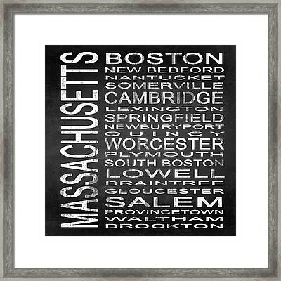 Subway Massachusetts State Square Framed Print